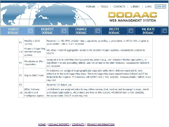 HOME | DODAAC REPORTS | CONTACTS | PRIVACY INFORMATION