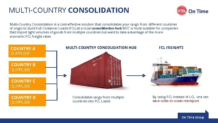 MULTI-COUNTRY CONSOLIDATION Multi-Country Consolidation is a cost-effective solution that consolidates your cargo from different