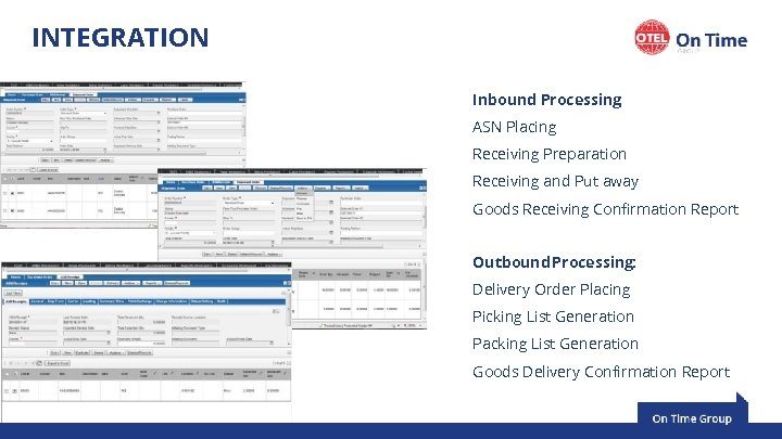 INTEGRATION Inbound Processing: ASN Placing Receiving Preparation Receiving and Put away Goods Receiving Confirmation