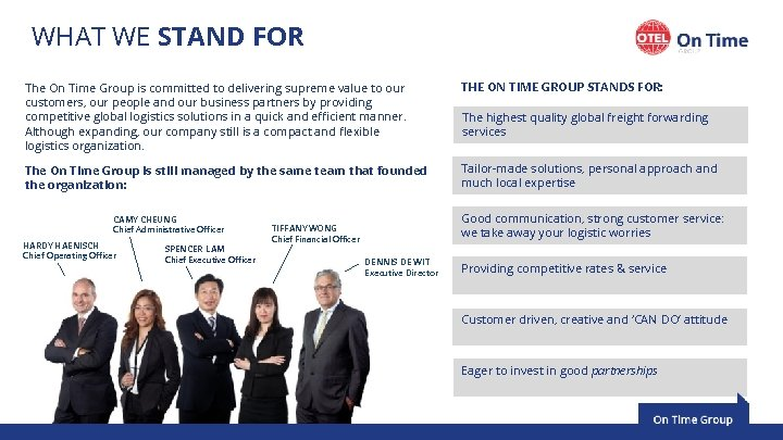 WHAT WE STAND FOR The On Time Group is committed to delivering supreme value