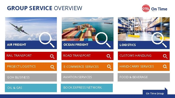 GROUP SERVICE OVERVIEW AIR FREIGHT OCEAN FREIGHT LOGISTICS RAIL TRANSPORT ROAD TRANSPORT CUSTOMS HANDLING