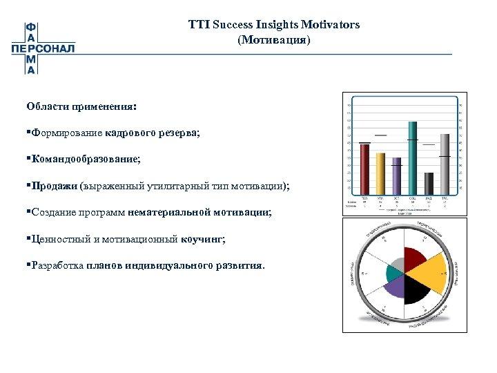 TTI Success Insights Motivators (Мотивация) Области применения: §Формирование кадрового резерва; §Командообразование; §Продажи (выраженный утилитарный