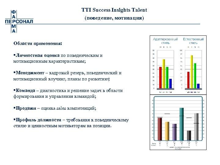 TTI Success Insights Talent (поведение, мотивация) Области применения: §Личностная оценка по поведенческим и мотивационным