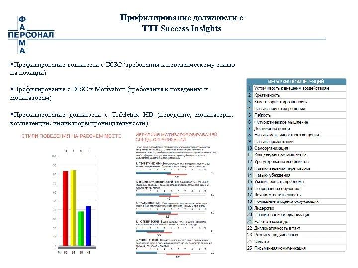 Профилирование должности с TTI Success Insights §Профилирование должности с DISС (требования к поведенческому стилю