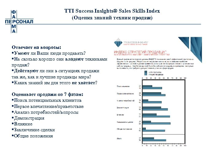 TTI Success Insights® Sales Skills Index (Оценка знаний техник продаж) Отвечает на вопросы: §Умеют