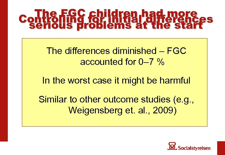 The FGC children had more Controlling for initial differences serious problems at the start