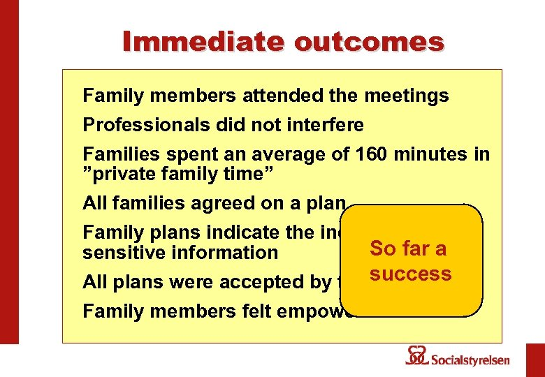 Immediate outcomes Family members attended the meetings Professionals did not interfere Families spent an