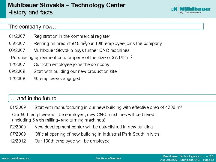 Mühlbauer Slovakia – Technology Center History and facts The company now… 01/2007 Registration in