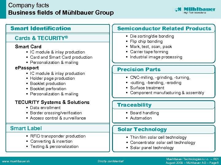 Company facts Business fields of Mühlbauer Group Smart Identification Semiconductor Related Products § §