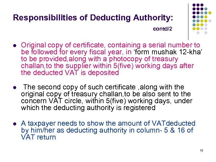 VAT DEDUCTION AT SOURCE M FAKHRUL ALAM Additional