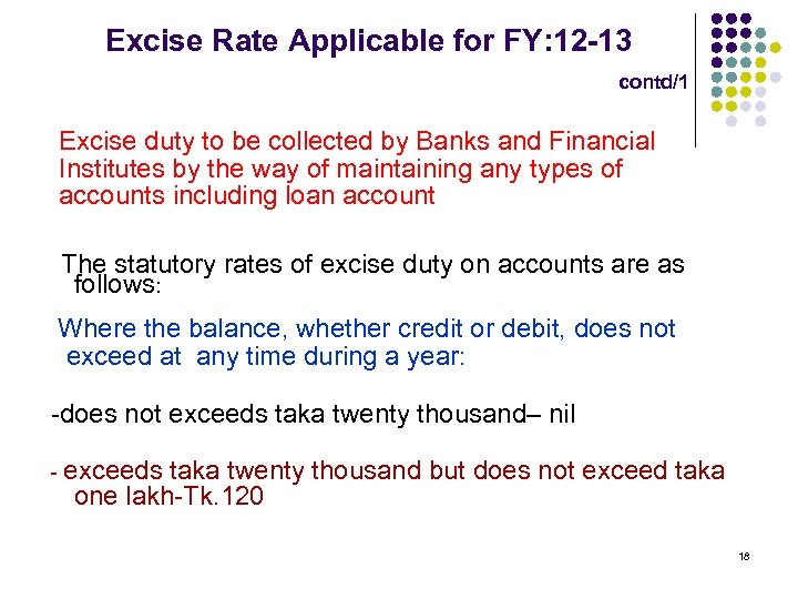 Excise Rate Applicable for FY: 12 -13 contd/1 Excise duty to be collected by