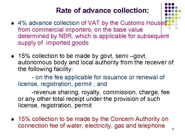 Rate of advance collection: l 4% advance collection of VAT by the Customs Houses