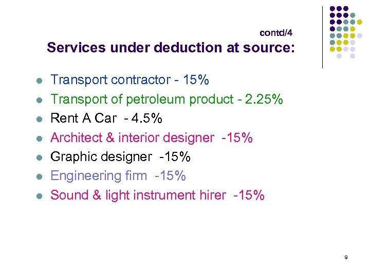 contd/4 Services under deduction at source: l l l l Transport contractor - 15%