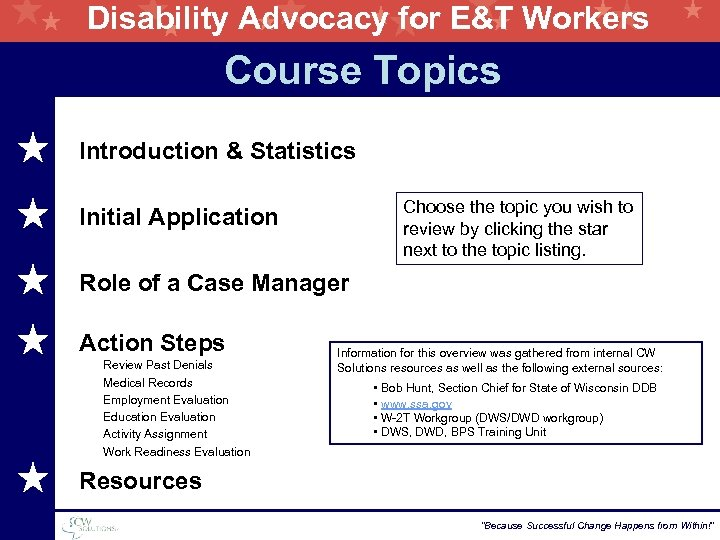 Disability Advocacy for E&T Workers Course Topics Introduction & Statistics Choose the topic you
