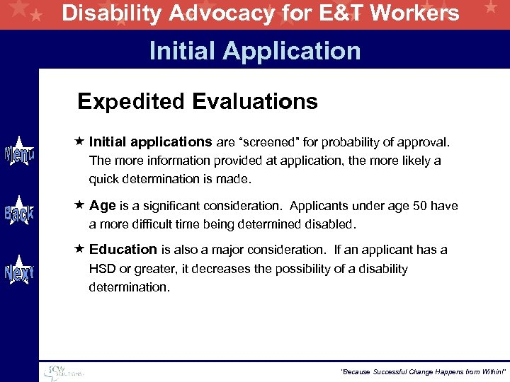 """Disability Advocacy for E&T Workers Initial Application Expedited Evaluations « Initial applications are """"screened"""""""