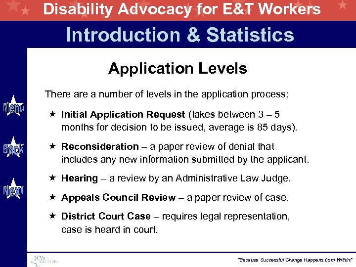 Disability Advocacy for E&T Workers Introduction & Statistics Application Levels There a number of