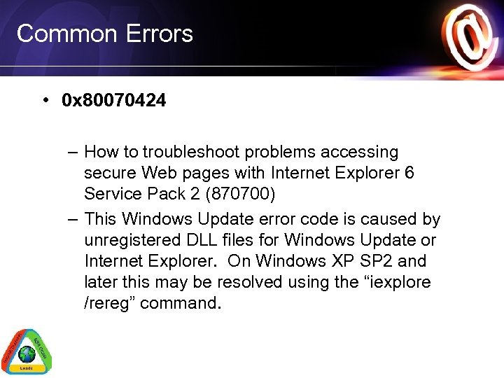 Common Errors • 0 x 80070424 – How to troubleshoot problems accessing secure Web