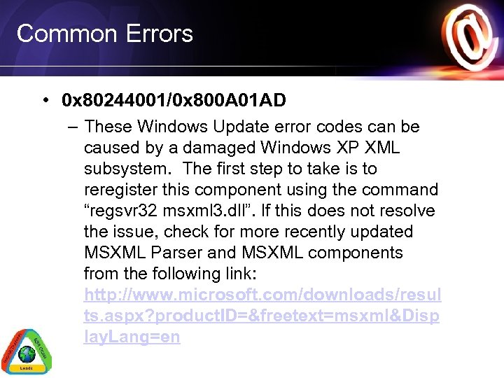 Common Errors • 0 x 80244001/0 x 800 A 01 AD – These Windows