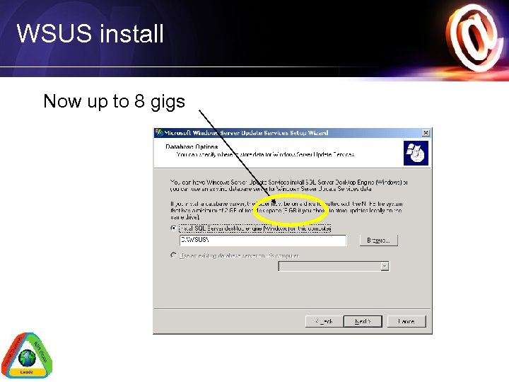 WSUS install Now up to 8 gigs