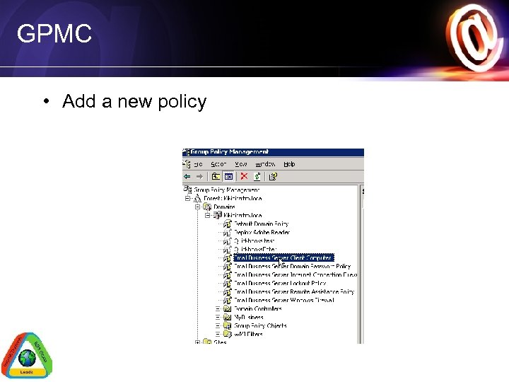 GPMC • Add a new policy