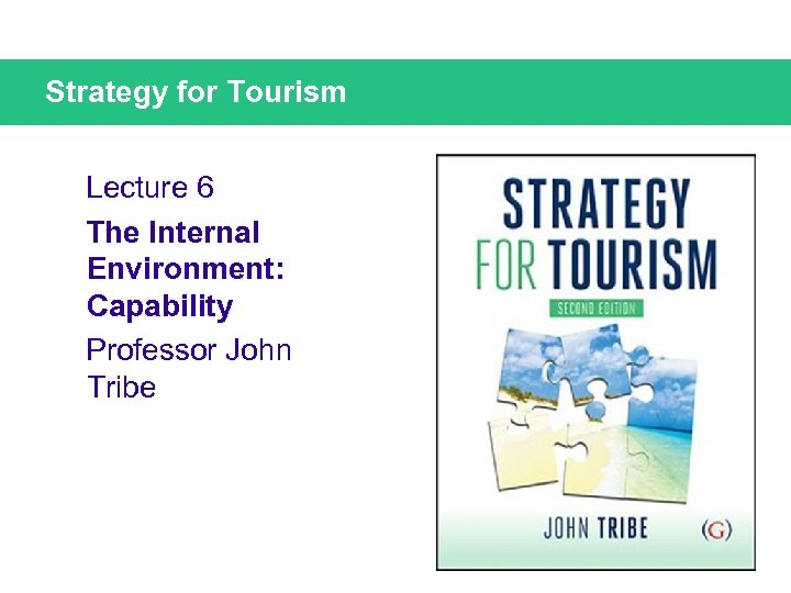 Strategy for Tourism Lecture 6 The Internal Environment: Capability Professor John Tribe