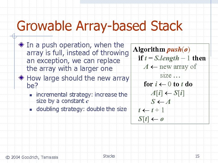 Growable Array-based Stack In a push operation, when the Algorithm push(o) array is full,