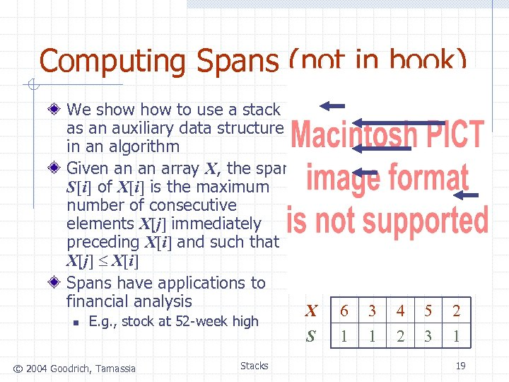 Computing Spans (not in book) We show to use a stack as an auxiliary