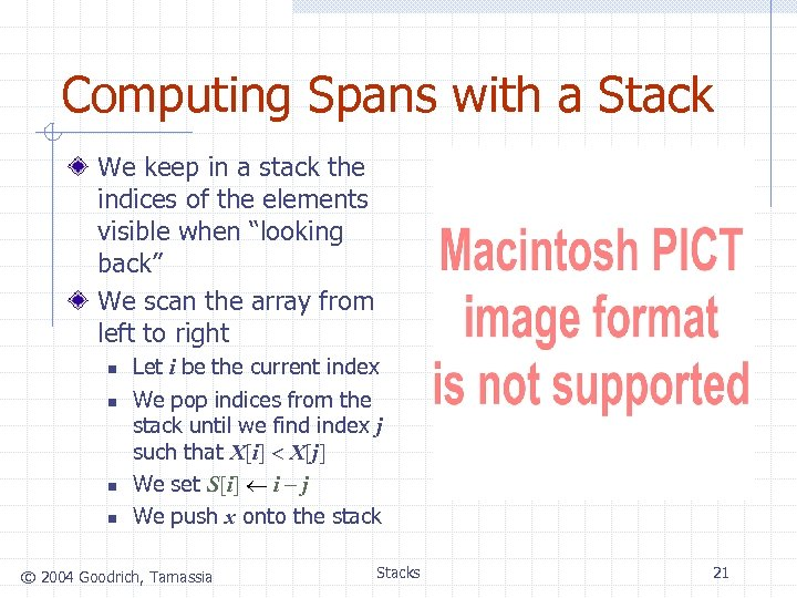 Computing Spans with a Stack We keep in a stack the indices of the