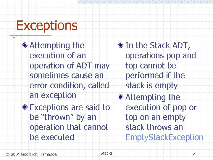 Exceptions Attempting the execution of an operation of ADT may sometimes cause an error