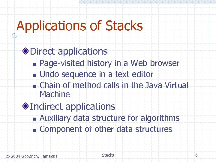 Applications of Stacks Direct applications n n n Page-visited history in a Web browser