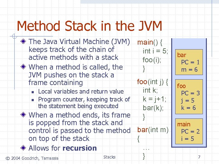 Method Stack in the JVM The Java Virtual Machine (JVM) keeps track of the