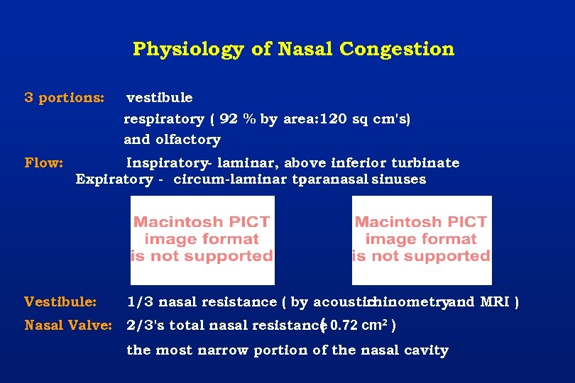 Physiology of Nasal Congestion 3 portions: Flow: vestibule respiratory ( 92 % by area: