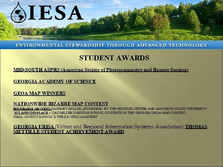 STUDENT AWARDS MID-SOUTH ASPRS (American Society of Photogrammetry and Remote Sensing) GEORGIA ACADEMY OF
