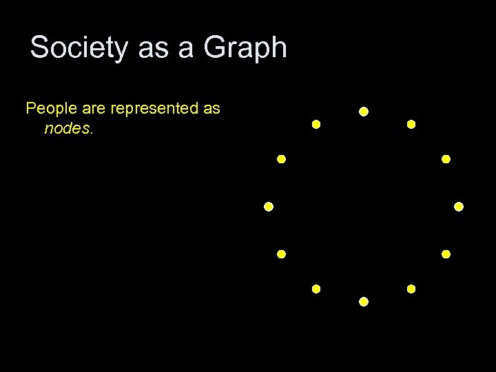 Society as a Graph People are represented as nodes.