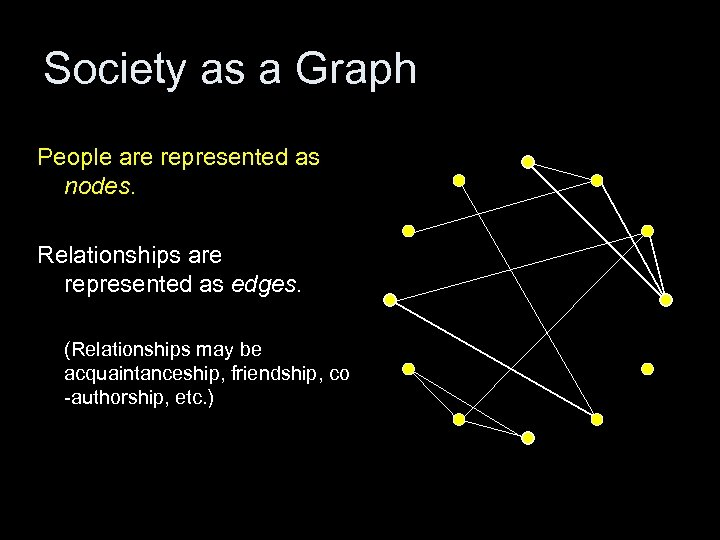 Society as a Graph People are represented as nodes. Relationships are represented as edges.