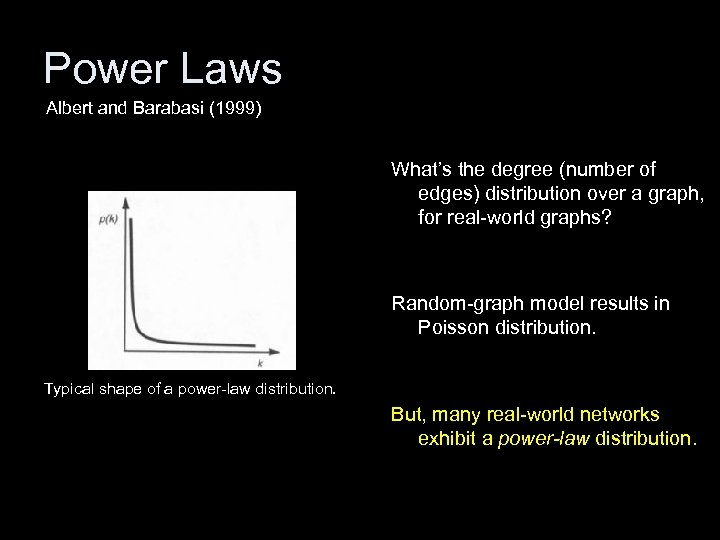 Power Laws Albert and Barabasi (1999) What's the degree (number of edges) distribution over