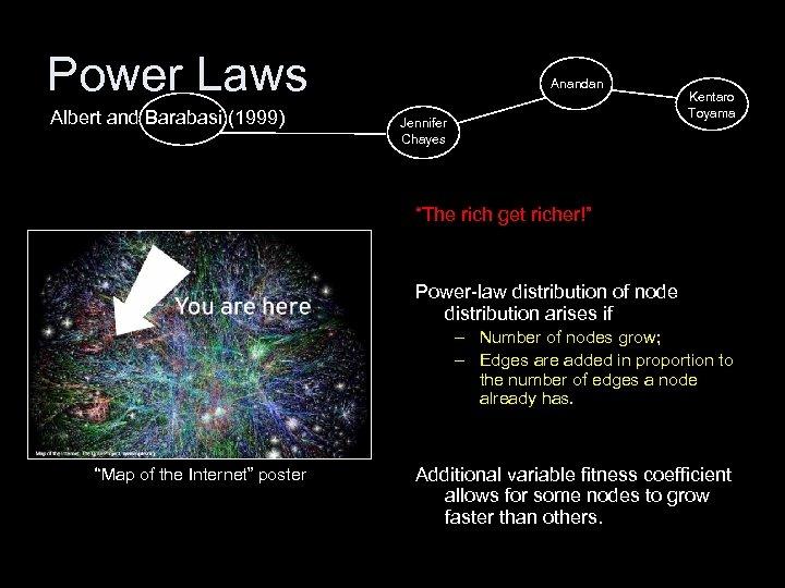 "Power Laws Albert and Barabasi (1999) Anandan Jennifer Chayes Kentaro Toyama ""The rich get"