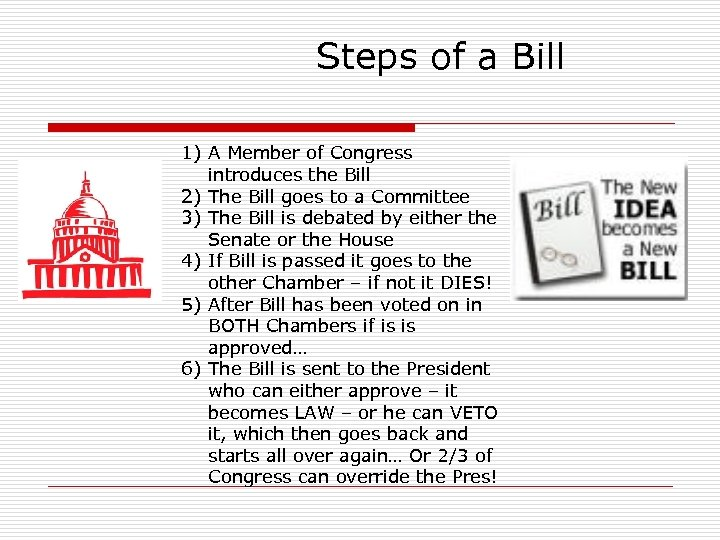Steps of a Bill 1) A Member of Congress introduces the Bill 2) The