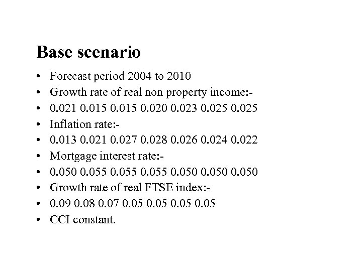 Base scenario • • • Forecast period 2004 to 2010 Growth rate of real