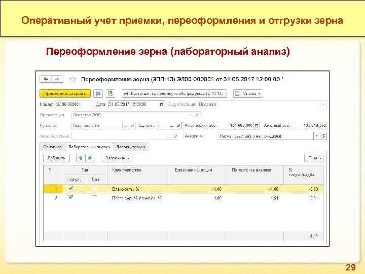 Оперативный учет приемки, переоформления и отгрузки зерна Переоформление зерна (лабораторный анализ) 29