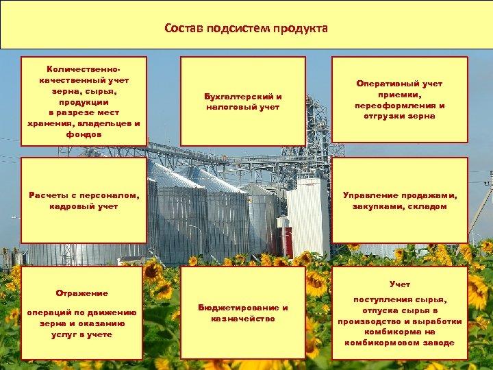 Состав отраслевых подсистем Состав подсистем продукта Количественнокачественный учет зерна, сырья, продукции в разрезе мест