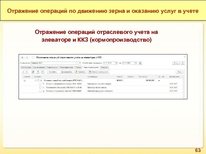 1 С: ERP Зерно. Отражение операций по движению зерна и оказанию услуг в учете