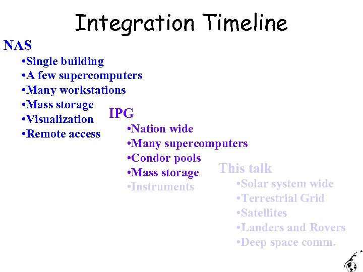 Integration Timeline NAS • Single building • A few supercomputers • Many workstations •