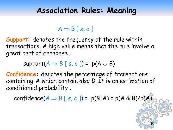 Association Rules: Meaning A B [ s, c ] Support: denotes the frequency of