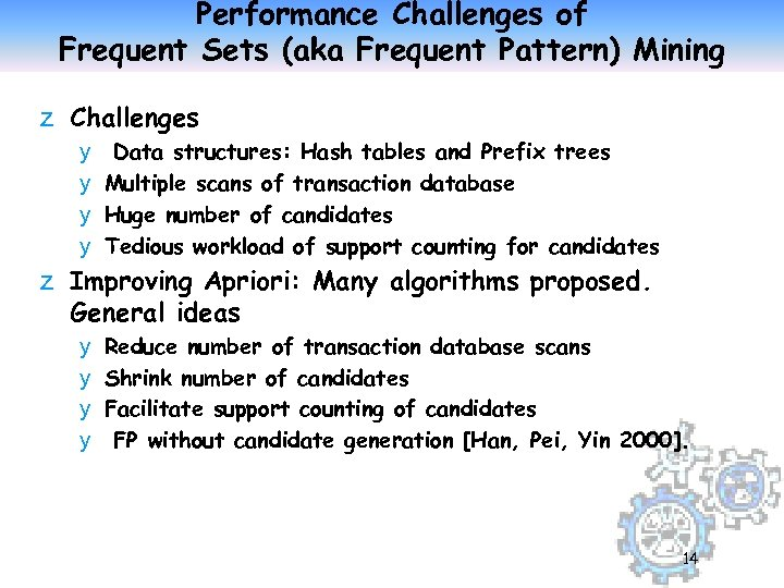 Performance Challenges of Frequent Sets (aka Frequent Pattern) Mining z Challenges y Data structures: