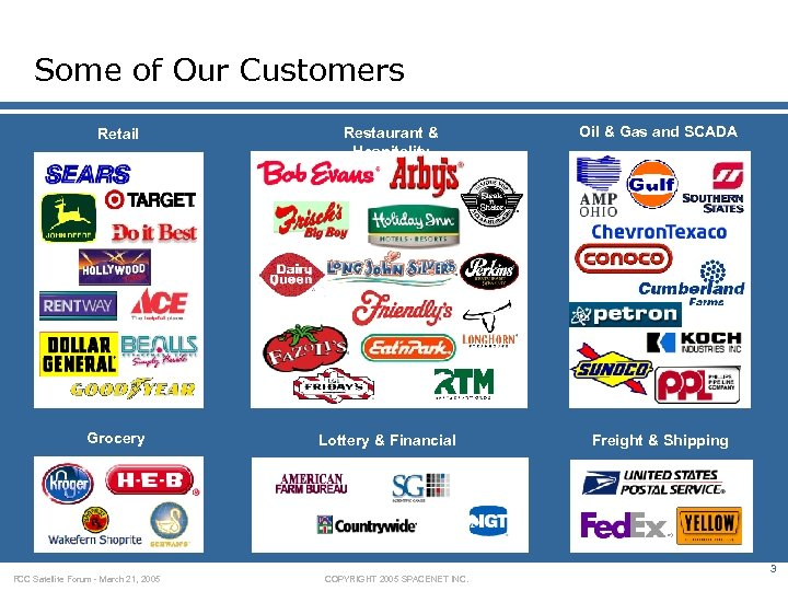 Some of Our Customers Retail Restaurant & Hospitality Oil & Gas and SCADA Grocery