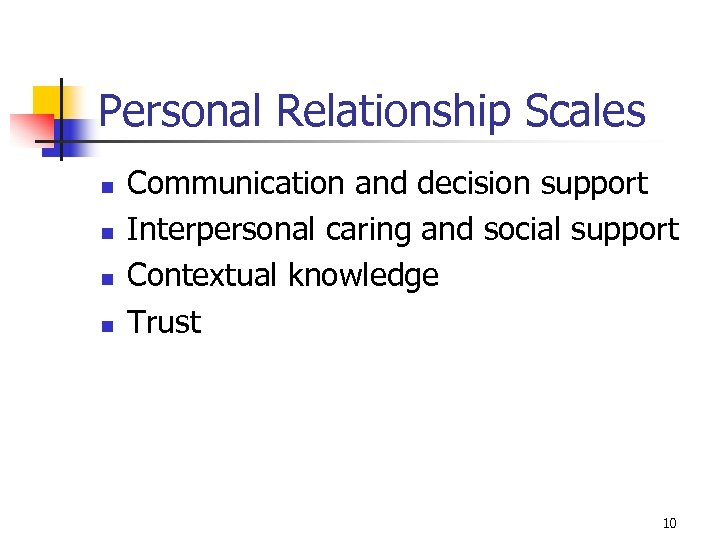 Personal Relationship Scales n n Communication and decision support Interpersonal caring and social support