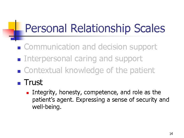 Personal Relationship Scales n n Communication and decision support Interpersonal caring and support Contextual