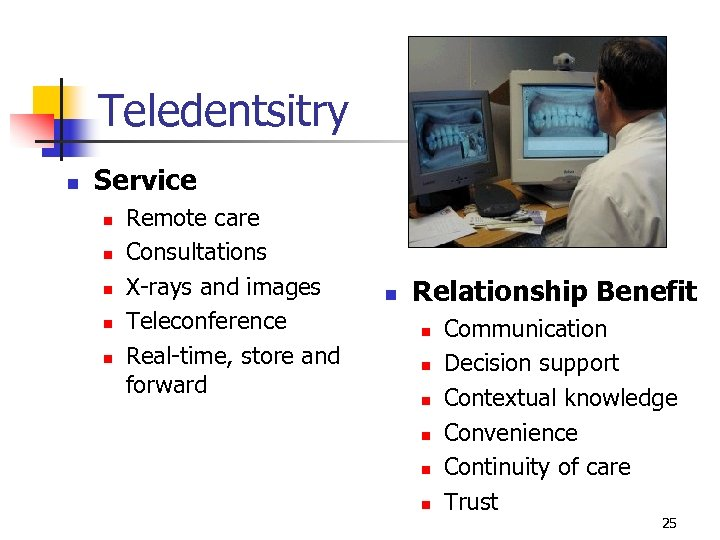 Teledentsitry n Service n n n Remote care Consultations X-rays and images Teleconference Real-time,