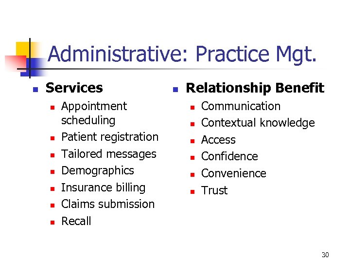 Administrative: Practice Mgt. n Services n n n n Appointment scheduling Patient registration Tailored